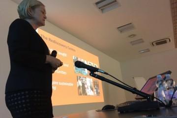 Sarah presenting at Milan